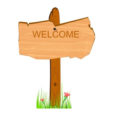 wooden billboard - vector Illustration
