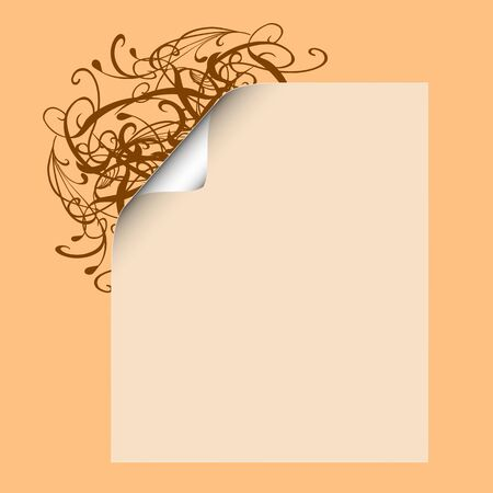 Blank paper with swirl floral ornament - vector Stock Vector - 13426331