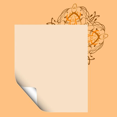 Blank paper with swirl floral ornament - vector Stock Vector - 13426322