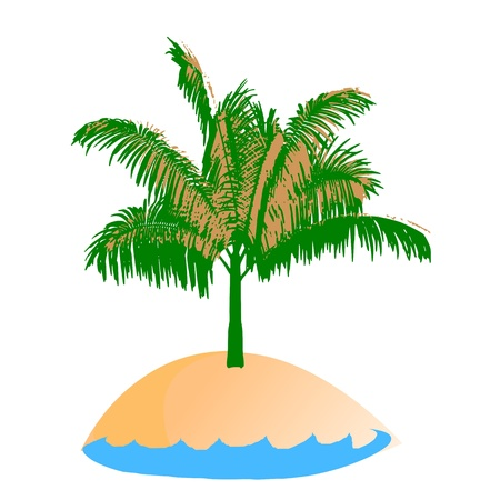 breezy: island and palm - vector