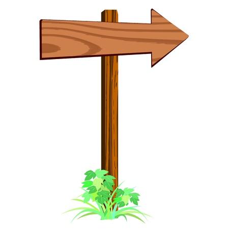 vierge signe de flèche en bois - vecteur