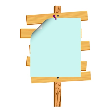 wooden billboard and blank paper - vector Vector