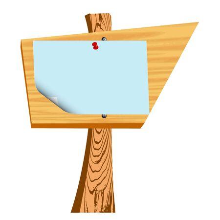wooden billboard and blank paper - vector Stock Vector - 13426708