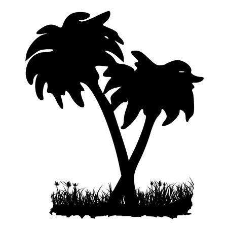 Palms and grass. Silhouette - vector Vector