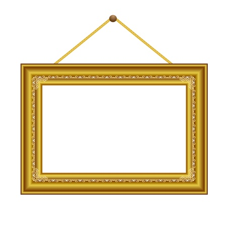 golden frame with vintage ornament for image or text - vector Stock Vector - 13426751