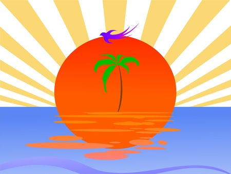 breezy: sun, palm and waves - vector