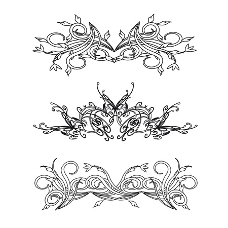 Vintage floral decorations isolated on white for design - vector Vector
