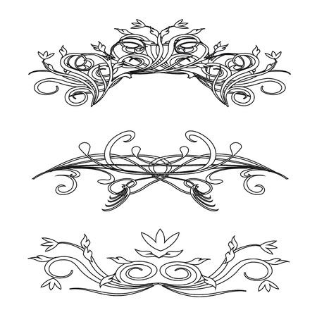 Урожай цветочные украшения, изолированных на белом фоне для дизайна - вектор