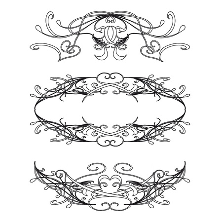 Vintage floral decorations isolated on white for design - vector