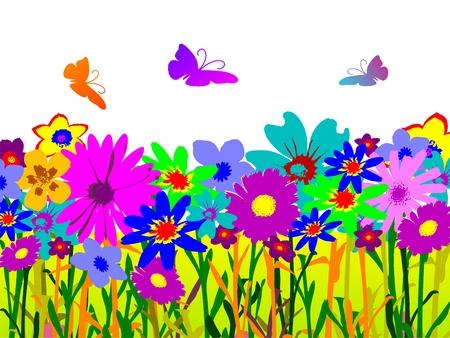 illustrierte: floral background mit Schmetterlingen