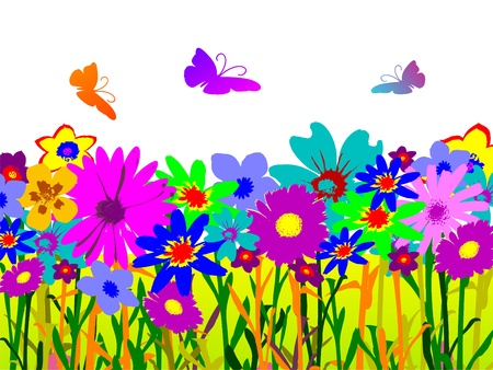 illustrated: floral background with butterflies