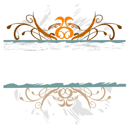 grunge swirl floral border for your text - vector Stock Vector - 13426588