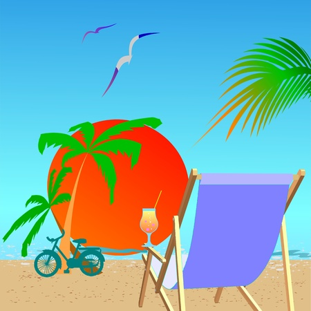 Summer beach scene - vector Vector