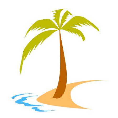 остров, пальмы и волны - вектор Иллюстрация