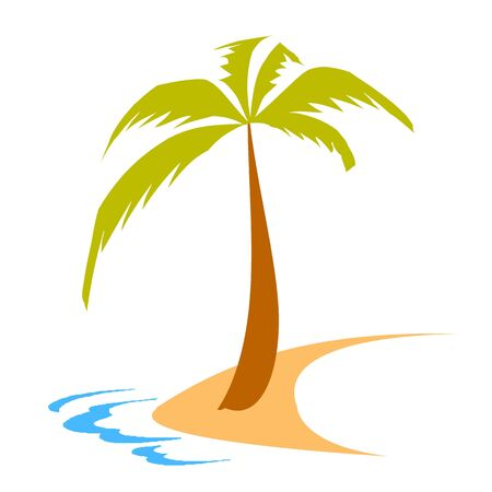 island, palm and waves - vector Illustration