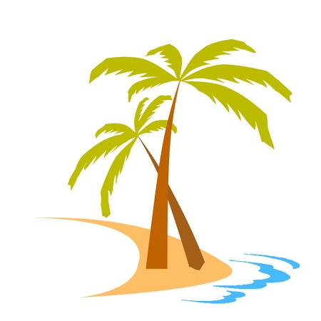 island, palms and waves - vector Vector