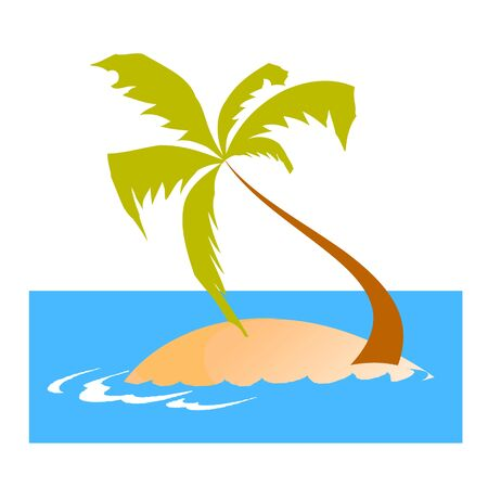 island, palm and waves - vector Stock Vector - 13426830