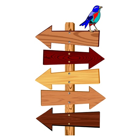 wooden arrow sign and bird  - vector Vector