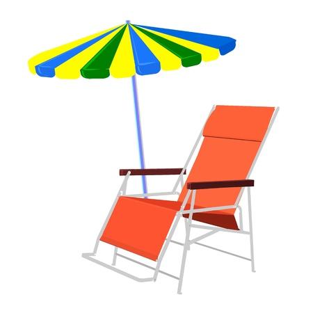 шезлонг и инвентарь пляжный зонтик - векторные Иллюстрация