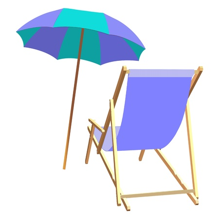 breezy: chaise lounge and umbrella beach inventory - vector Illustration