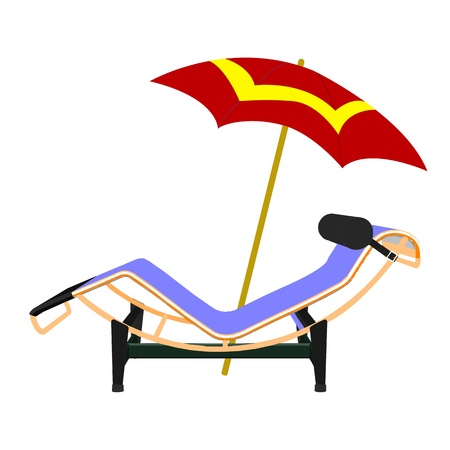 chaise: chaise lounge and umbrella beach inventory - vector Illustration