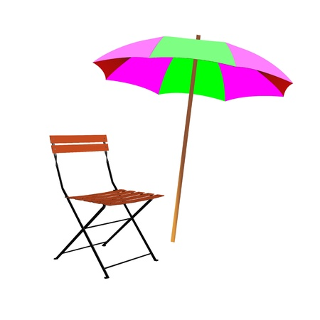 breezy: chair and umbrella beach inventory - vector