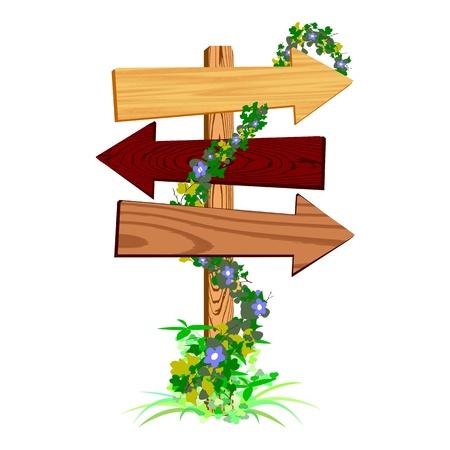 пустой деревянный знак стрелки - вектор