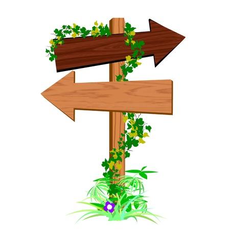 guide board: blank wooden arrow sign - vector