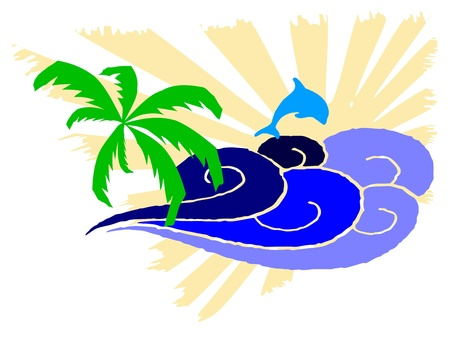 breezy: palm and surfing waves - vector