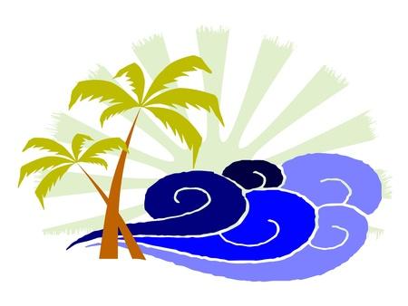 пальмы и серфинга волны - вектор Иллюстрация