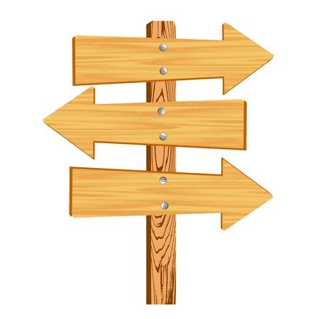 blank wooden arrow sign - vector