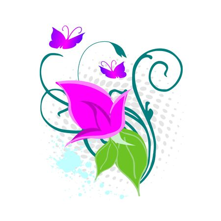 grunge swirl floral design - vector Vector
