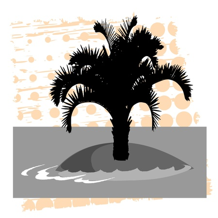 breezy: island, palm and  waves - vector