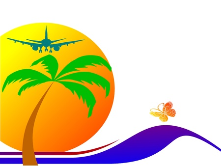 sun, palm, plane and surfing waves - vector