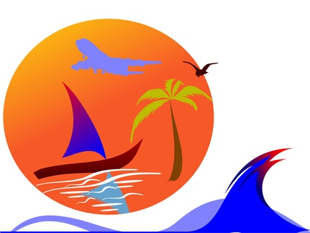 sun, palm, plane and surfing waves - vector  Vector