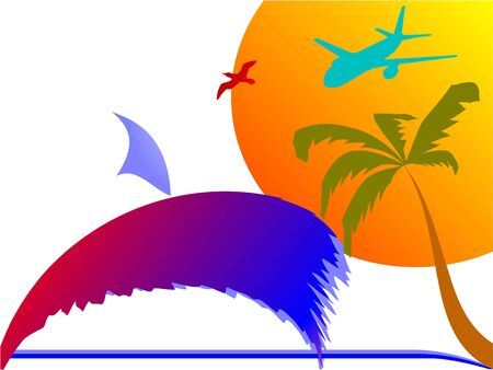 sun, palm, plane and surfing waves - vector Stock Vector - 13426997