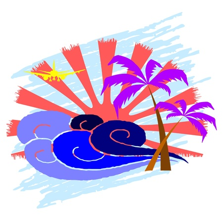sun, palms and surfing waves - vector Vector