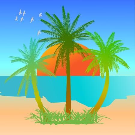 Summer beach scene - vector Stock Vector - 13427250