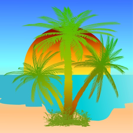 Summer beach scene - vector Stock Vector - 13427275