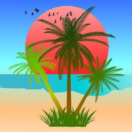 Summer beach scene - vector Stock Vector - 13427266
