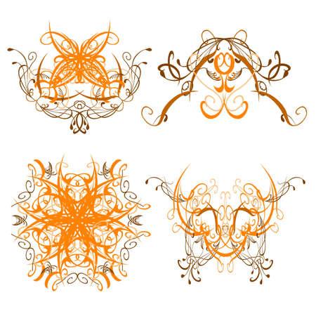 set of swirl decorative patterns - vector