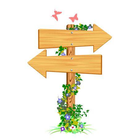 blank wooden arrow sign and butterflies - vector Stock Vector - 13427324