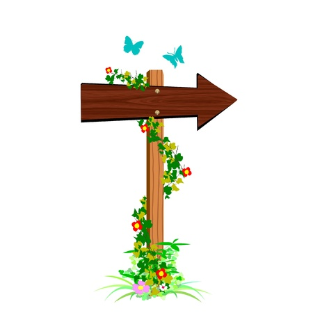 blank wooden arrow sign and butterflies - vector Stock Vector - 13427261