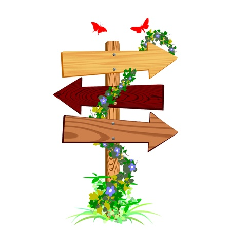 directions: blank wooden arrow sign and butterflies - vector