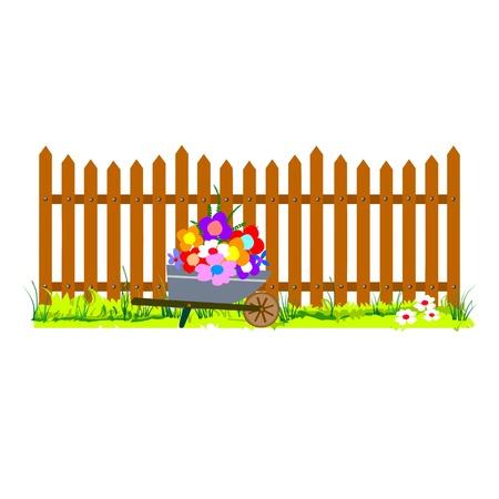 wooden fence and wheelbarrow garden - vector Stock Vector - 13427024