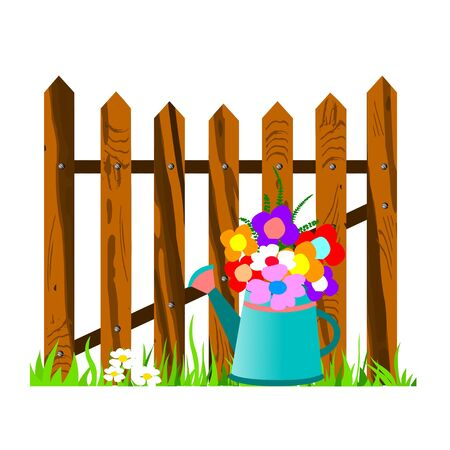 wooden fence and watering can - vector Stock Vector - 13427006