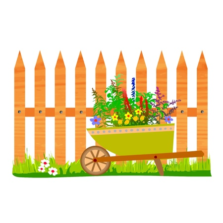 wooden fence and wheelbarrow garden - vector Stock Vector - 13427229