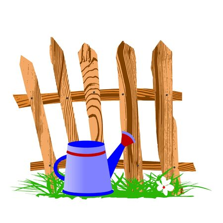 wooden fence and watering can - vector Vector