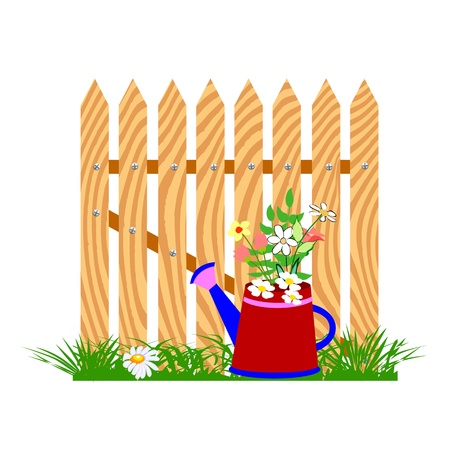 wooden fence and watering can - vector Illustration