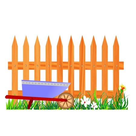 wooden fence and wheelbarrow garden - vector Stock Vector - 13427000